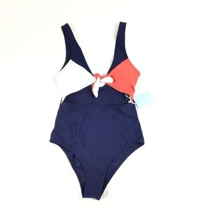 4/25 New Cupshe Cut Out One Piece Swim Suit Blue
